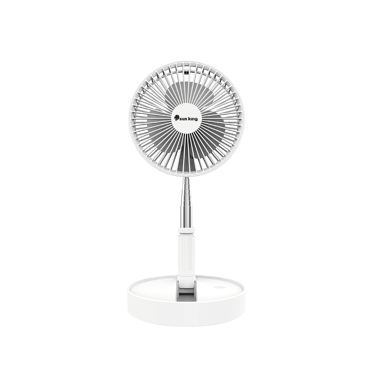 Sun King Foldable Silent and Portable 20.32cm Sweep 3 Blade Pedestal Fan (Brushless DC Motor, SK-723, White)