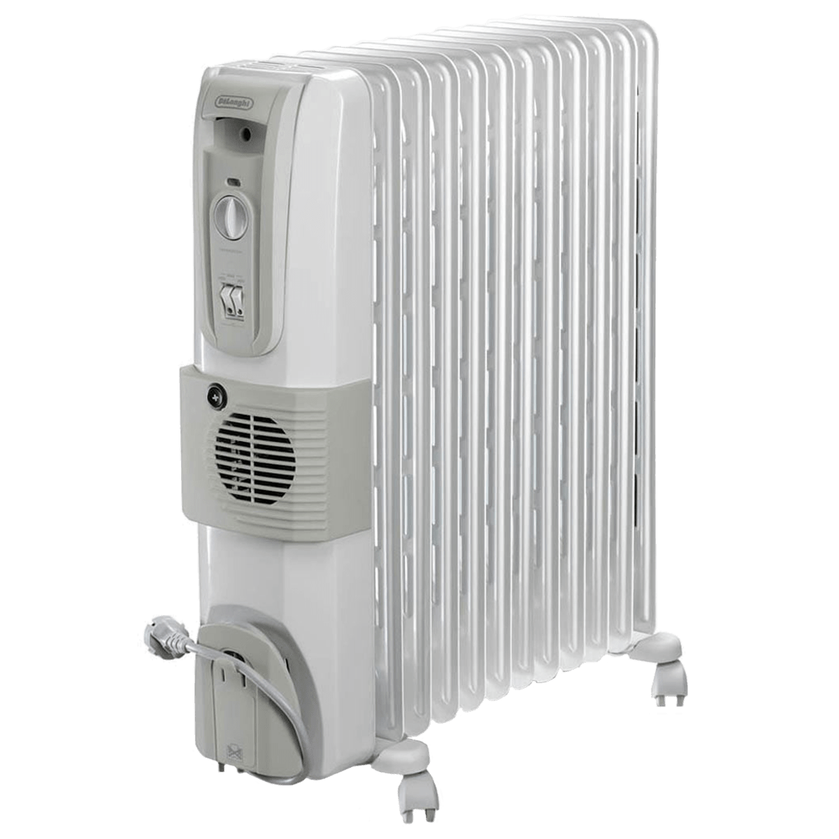 DeLonghi HOR 3000 Watts Fan Oil Filled Heater (Thermostat Control, KH771230V, White)