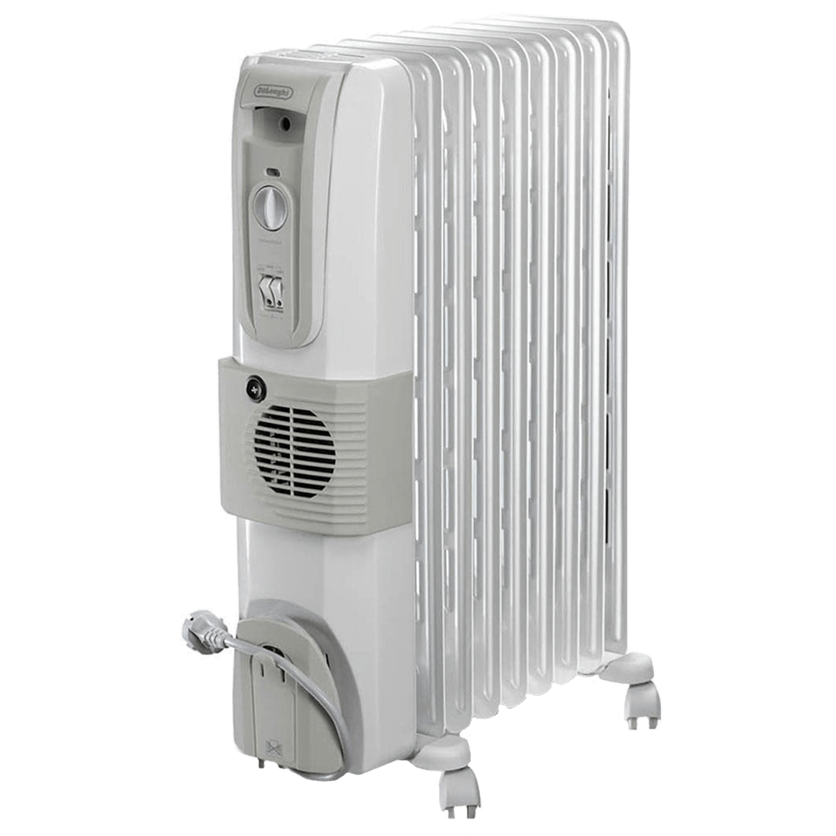DeLonghi HOR 2500 Watts Fan Oil Filled Heater (Thermostat Control, KH770925V, White)