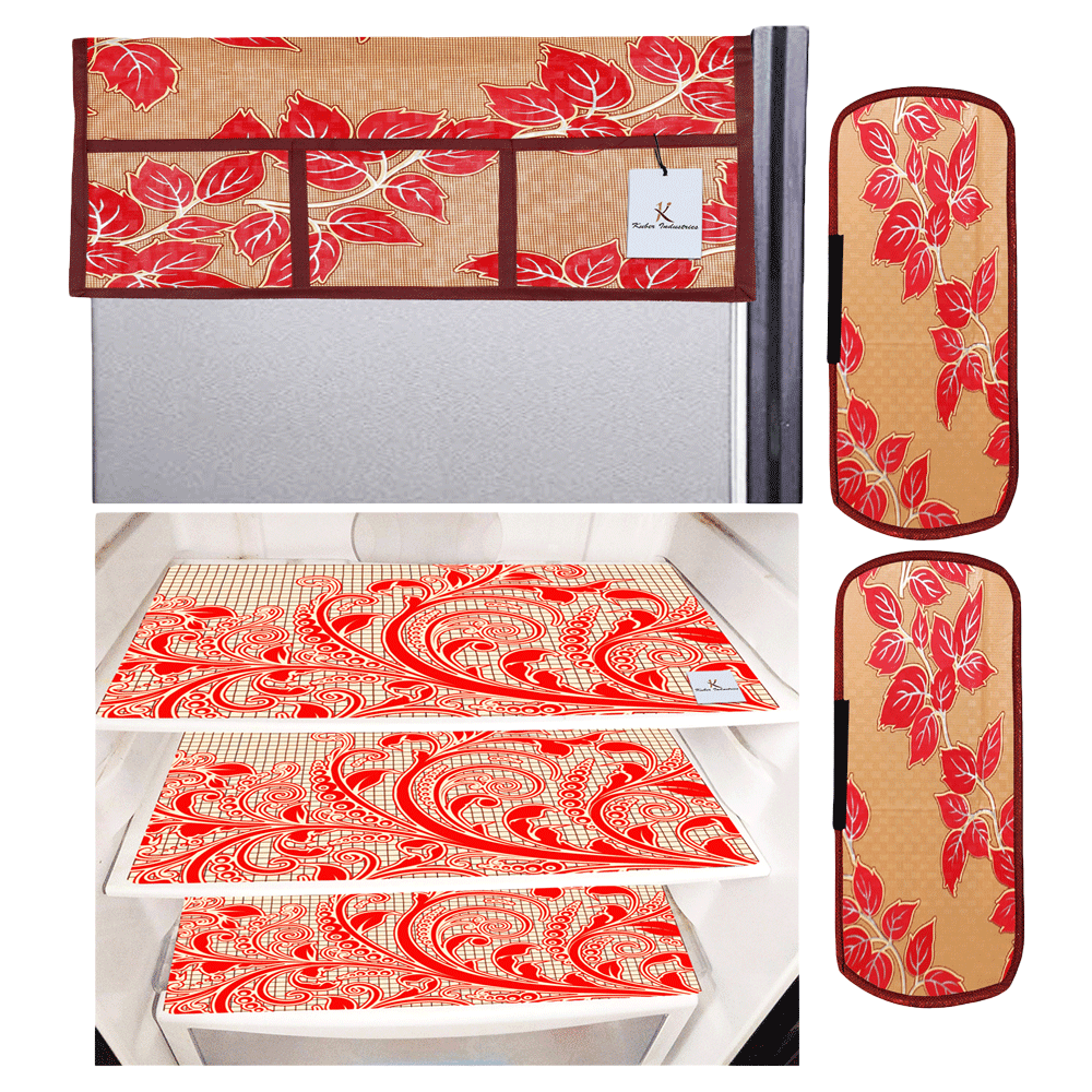 Kuber Industries Mat and Cover For Refrigerator (Easily Hand Washable, CTKTC033657, Red)