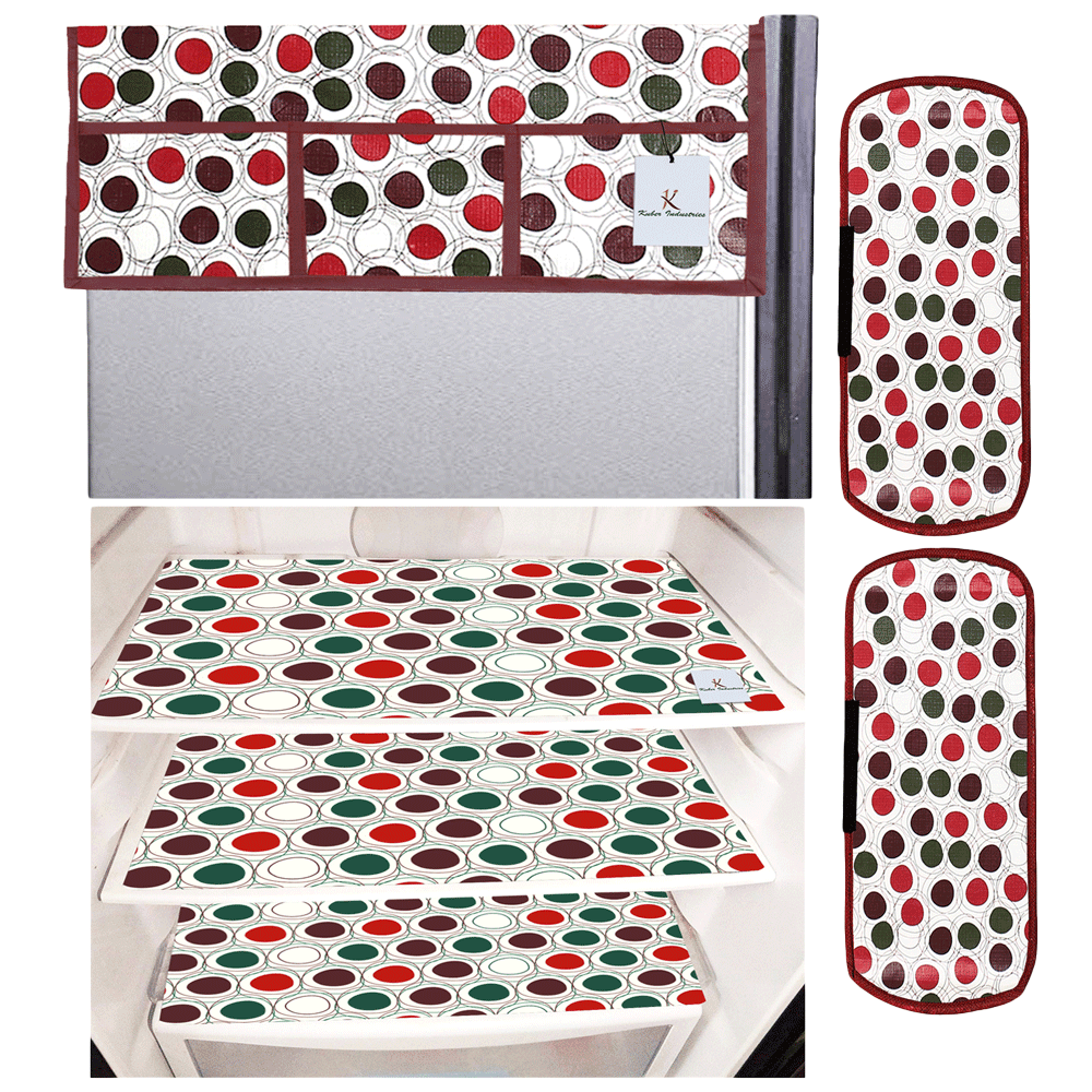 Kuber Industries Mat and Cover For Refrigerator (Easily Hand Washable, CTKTC033658, Maroon and Cream)