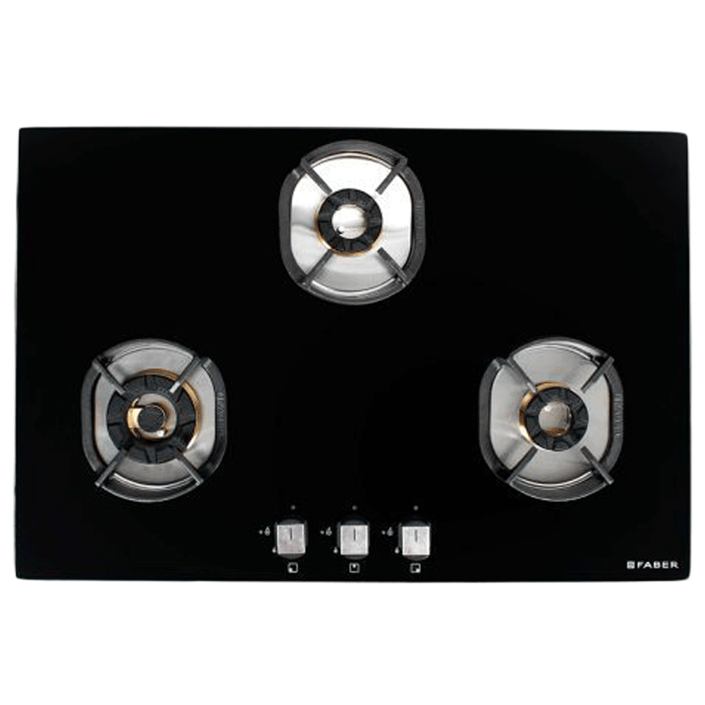 Faber Nexus 3 Burner Toughened Glass Built-in Gas Hob (Auto Ignition, IND HT783 CRS BR CI AI, Black)