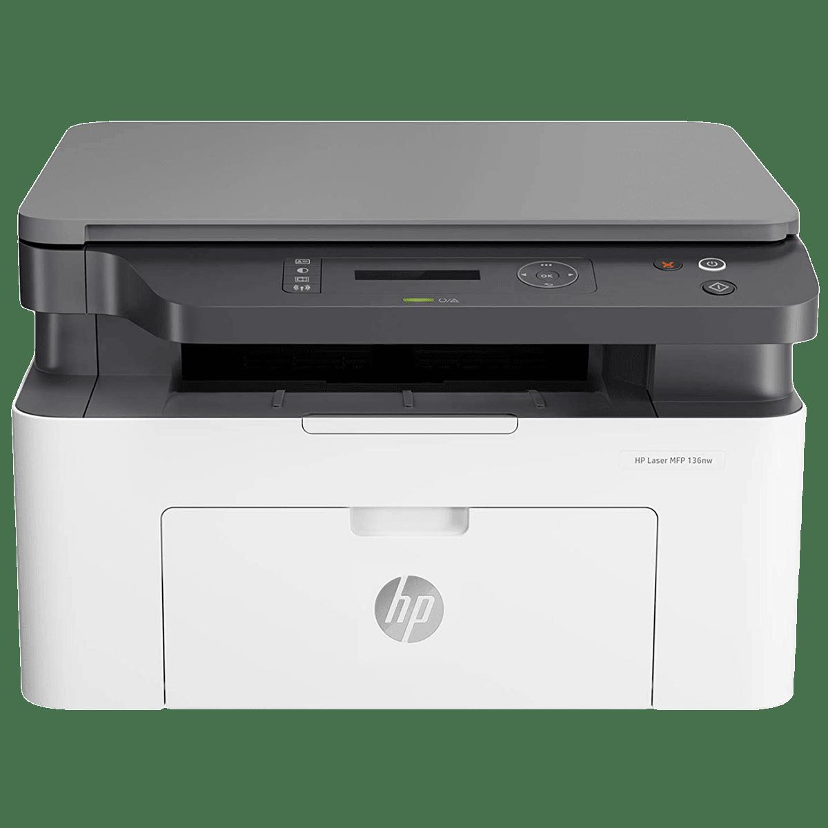 HP Laser 136nw Wireless Black & White Multi-Function Laserjet Printer (Mobile Printing Capability, 4ZB87A, White)