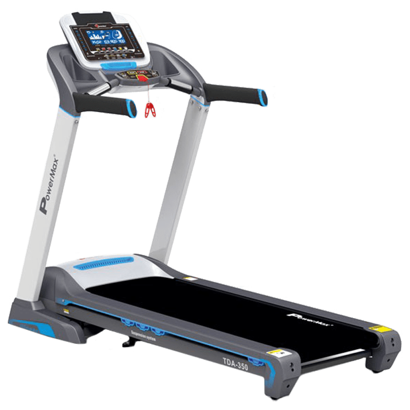 PowerMax MaxTrek 6 HP Foldable Motorized Treadmill (Hydraulic Soft-drop System, TDA-350, Blue/Grey)
