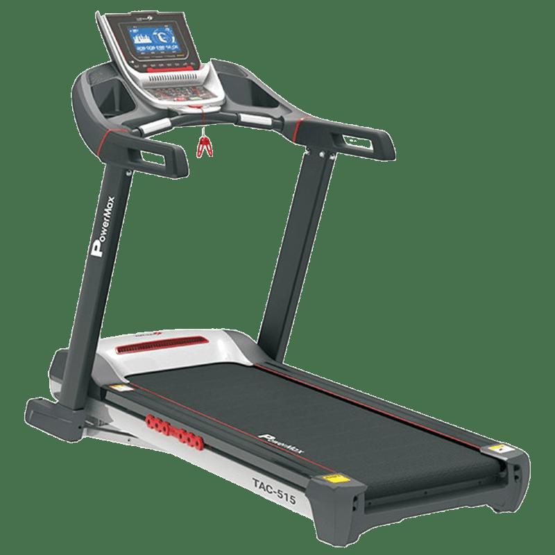 PowerMax MaxTrek 6 HP Foldable Motorized Treadmill (Hydraulic Softdrop System, TAC-515, Red/Black)