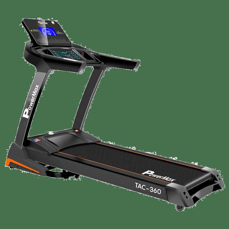PowerMax MaxTrek 6 HP Foldable Motorized Treadmill (Hydraulic Softdrop System, TAC-360, Orange/Black)