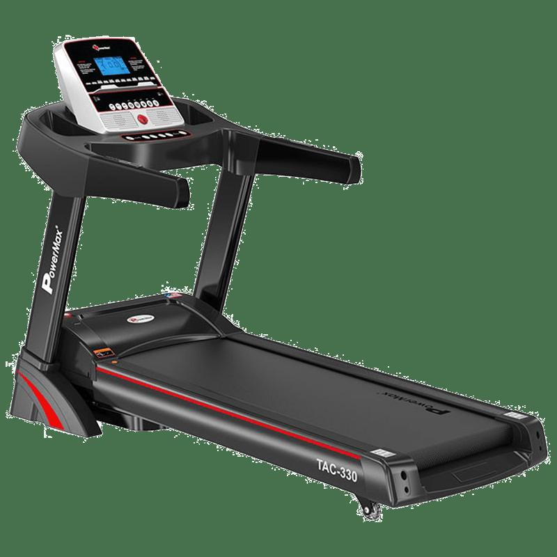 PowerMax MaxTrek 6 HP Foldable Motorized Treadmill (Hydraulic Softdrop System, TAC-330, Red/Black)