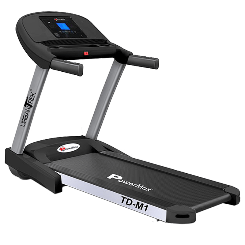 PowerMax UrbanTrek 4 HP Foldable Motorized Treadmill (Hydraulic Softdrop System, TD-M1, Grey/Black)
