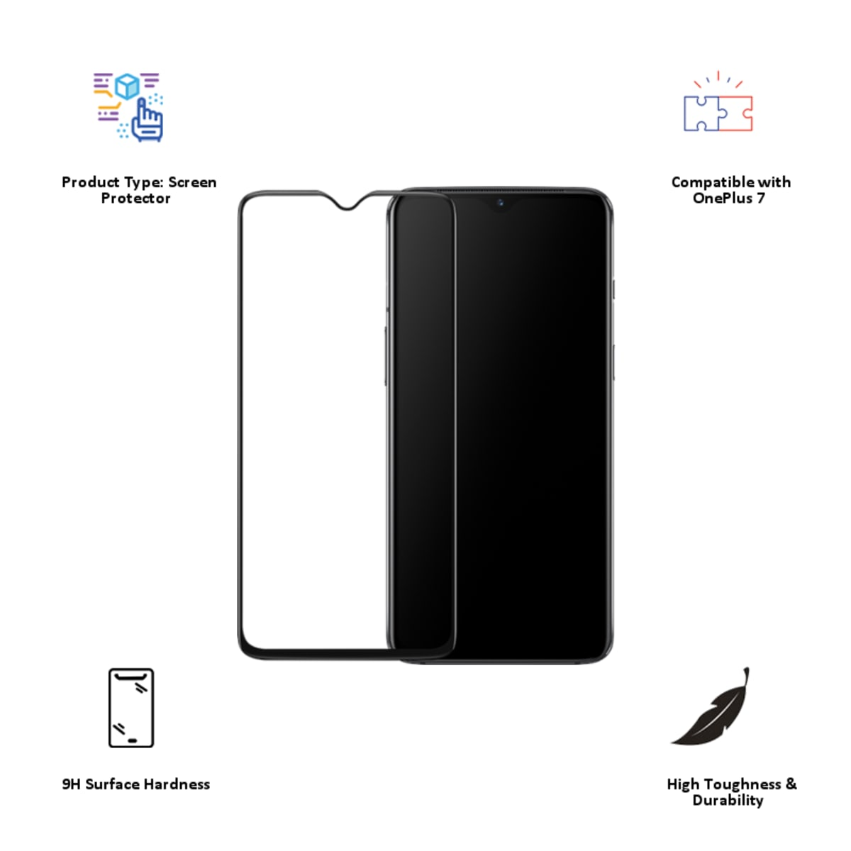OnePlus 7 3D Tempered Glass Screen Protector (5431100089, Black)_3