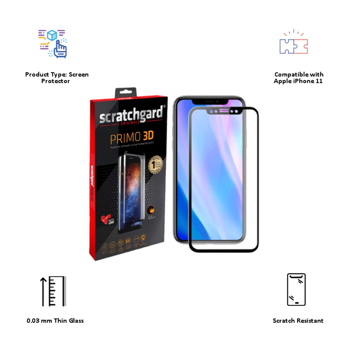 Scratchgard Primo 3D Tempered Glass Screen Protector for Apple iPhone 11 (Clear)_3