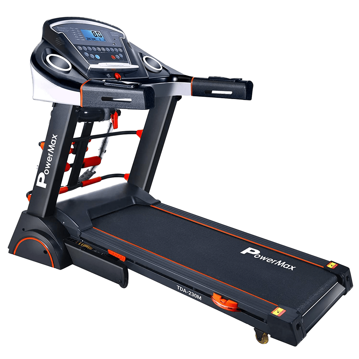 PowerMax MaxTrek 3 HP Foldable Motorized Treadmill (Anti-Bacterial Powder Coat Finish, TDA-230M, Black/Orange)