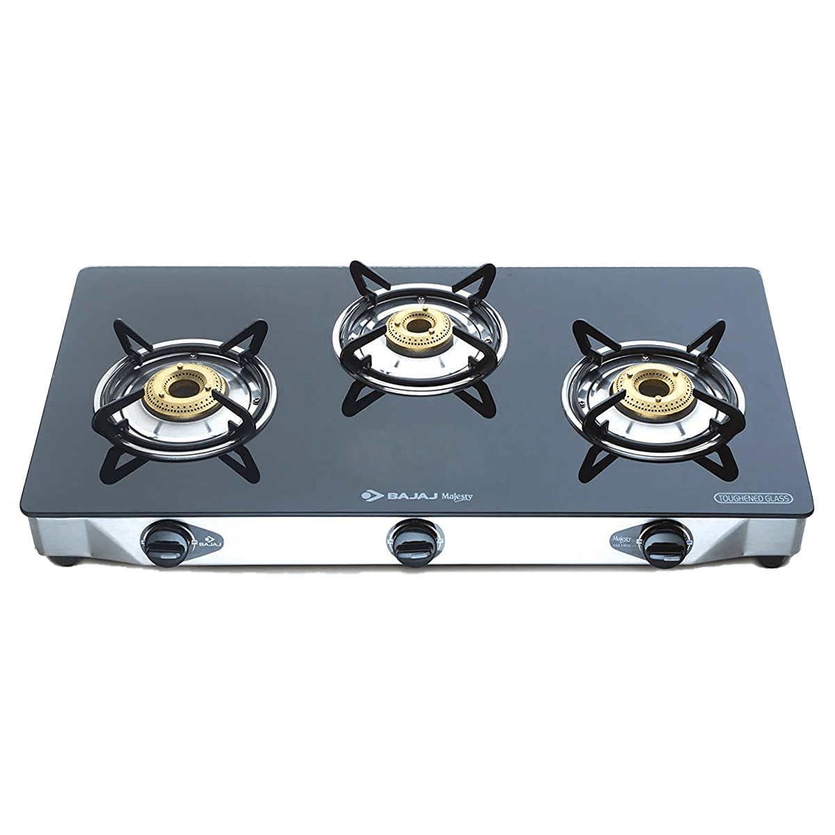Bajaj 3 Burner Glass Gas Stove (Thermal Efficient Brass Burner, Majesty CGX3 Eco, Black)