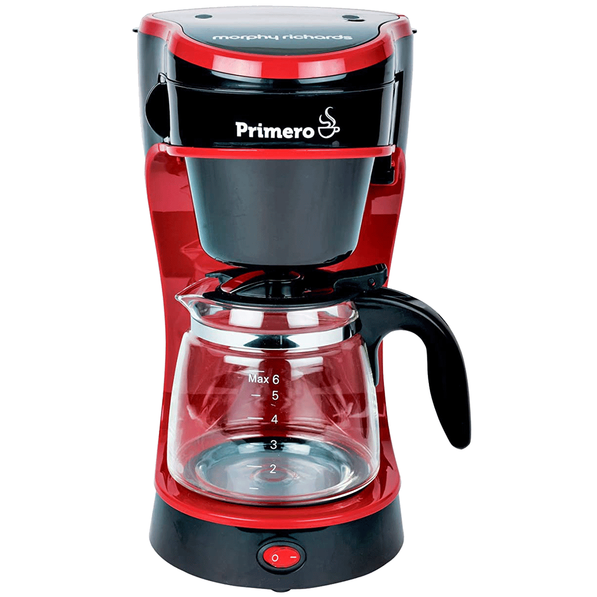 Morphy Richards Primero 6 Cup Semi-Automatic Drip Coffee Maker (Makes Drip Coffee, Anti Drip Function, 350010, Black/Red)