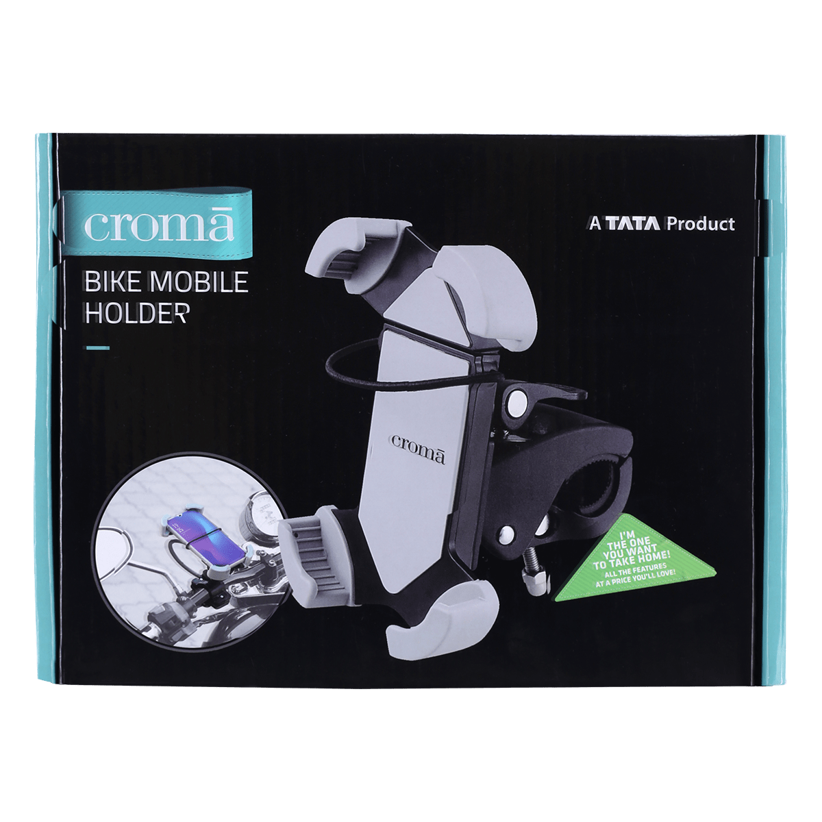 Croma Mobile Mount for Motor Bike and Bicycle (360 Degree Rotating, CRCA2017, Black)_7