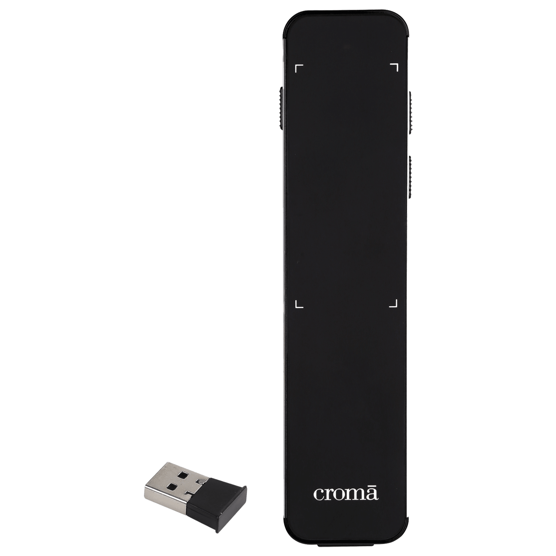 Croma USB Receiver Laser Presenter (Single Finger Movement, CRXI3119, Black)