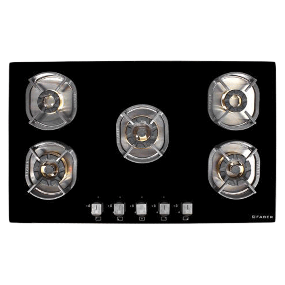 Faber Nexus IND HT905 CRS BR CI AI 5 Burner Toughened Glass Built-in Gas Hob (Auto Ignition, 106.0606.345, Black)