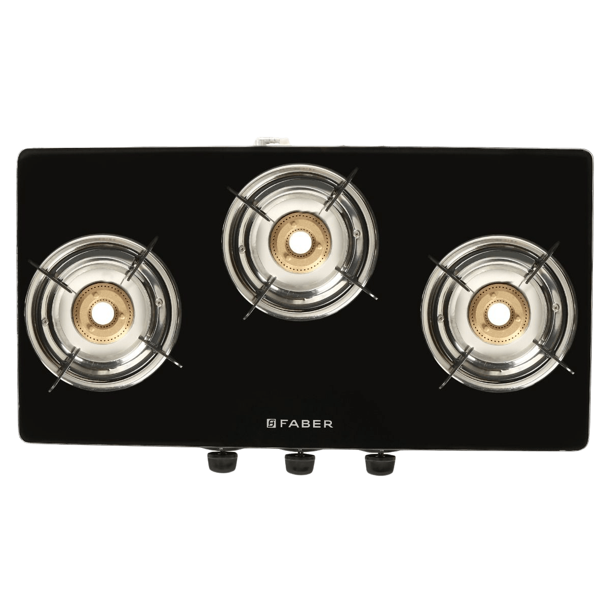 Faber Power 3BB SS 3 Burner Glass Gas Stove (Feather touch Nylon Control, 106.0630.987, Silver)