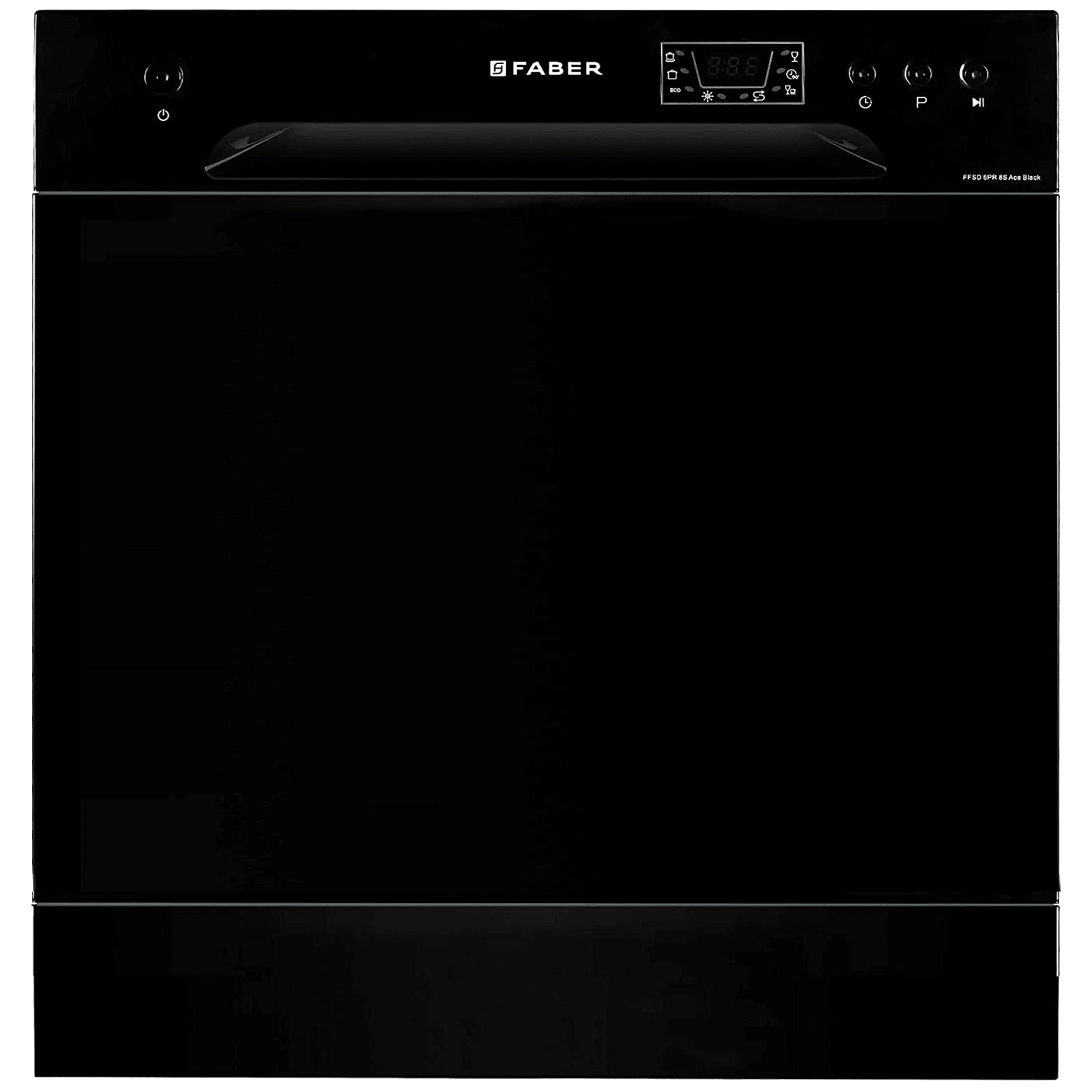 Faber 8 Place Setting Counter Top Dishwasher (Self Clean Filter System, FFSD 6PR 8S Ace, Black)