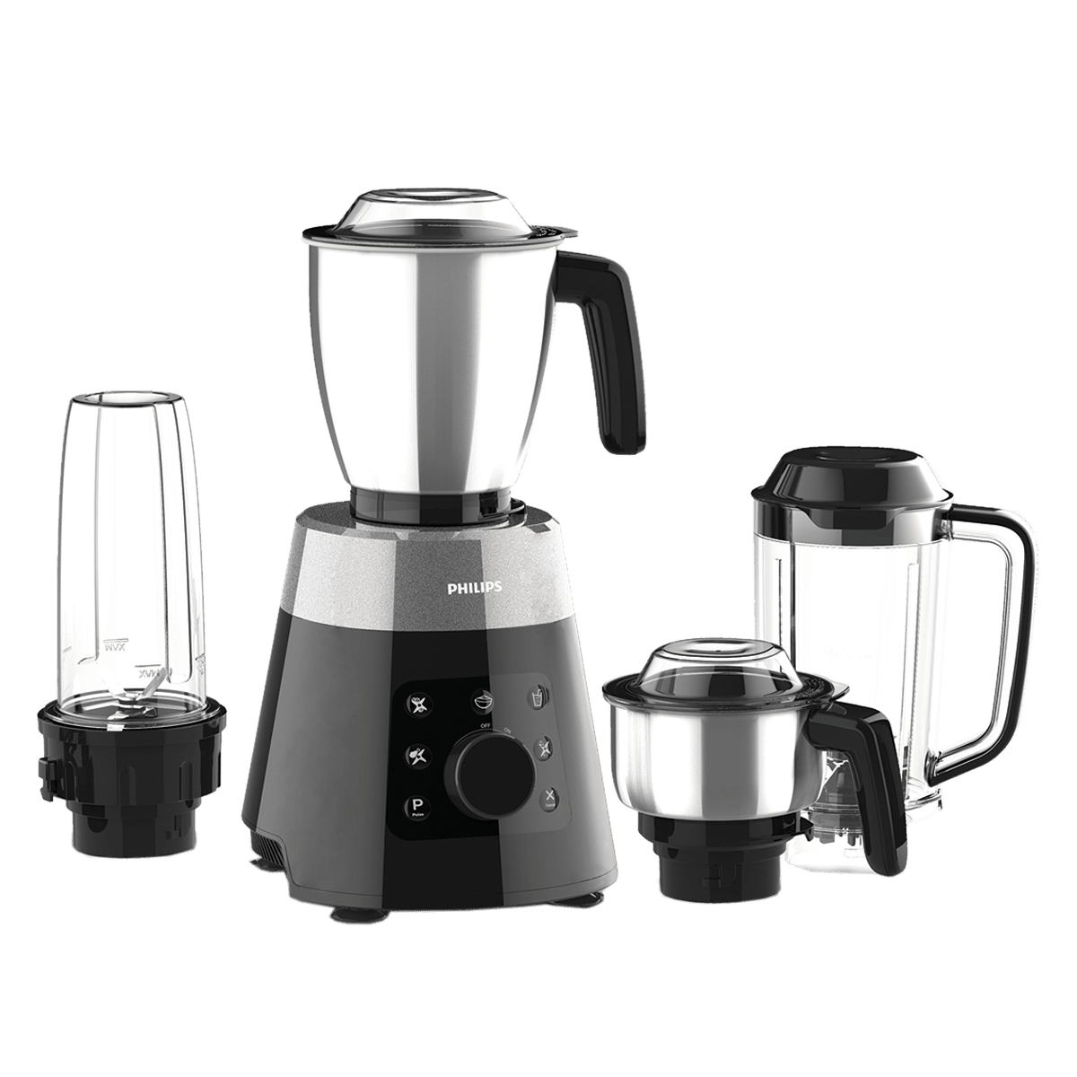 Philips Avance Collection 750 Watts 4 Jars Mixer Grinder (3-Step Blade Technology, HL7777/00, Metallic Silver/Bold Black)