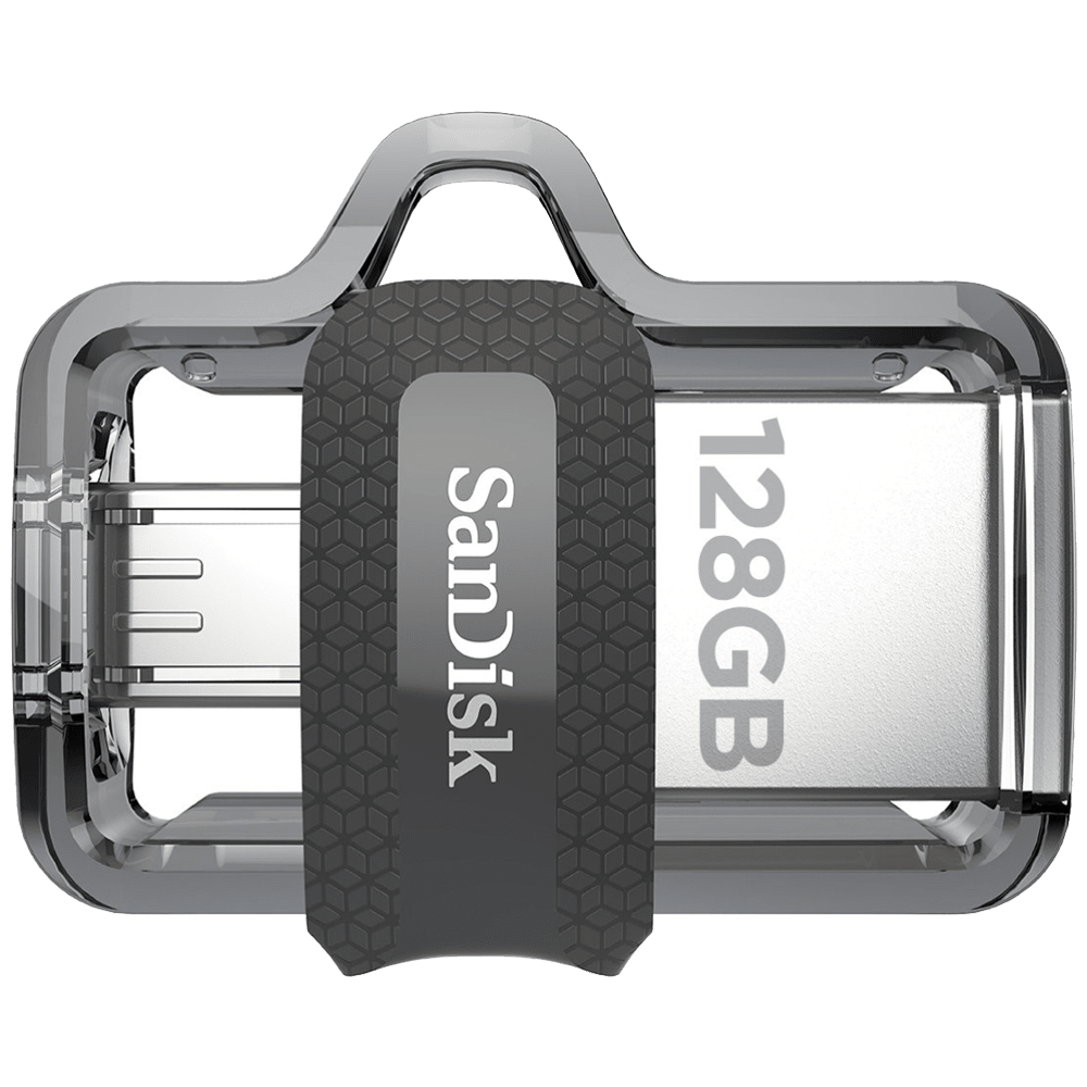SanDisk Ultra Dual Drive m3.0 128GB USB 3.0 (Type-A), Micro USB (Type-B) Flash Drive (Retractable Design, SDDD3-128G-I35, Silver)
