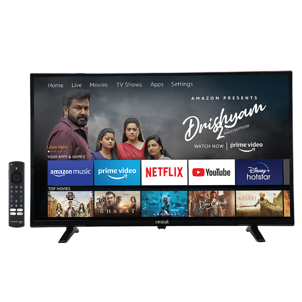 Croma FireTV Edition 108cm (43 Inch) Full HD LED Smart TV (3 Years Warranty, Alexa Voice Assistant Remote, CREL7365, Black)