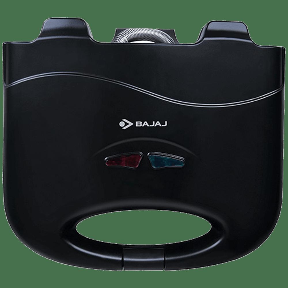 Bajaj SWX 3 Deluxe 800 Watts 2 Slice Automatic Grilling+Toasting Sandwich Maker (LED Neon Indicator, 270105, Black)