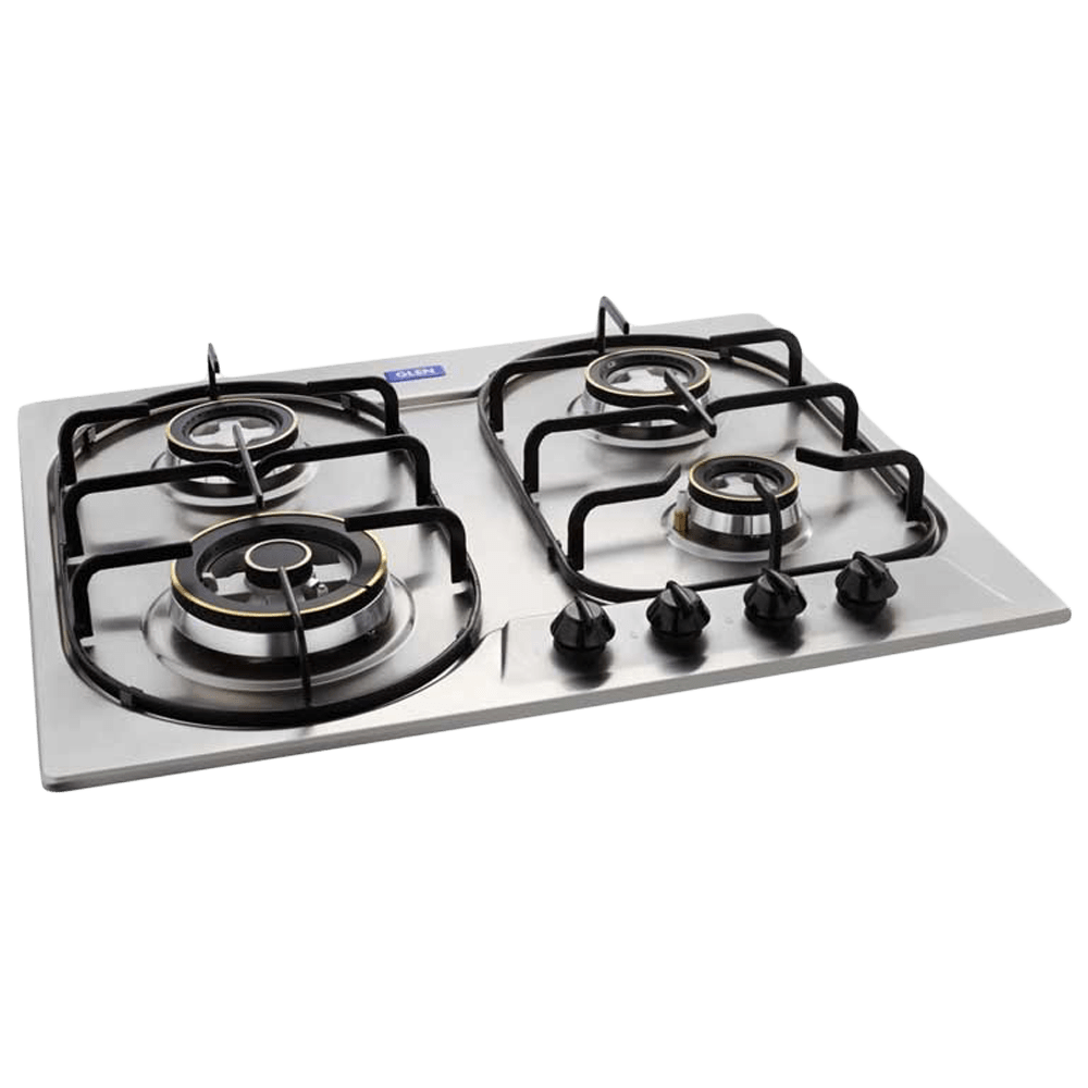 Glen 1061 DB TR 4 Burner Stainless Steel Grade 304 Built-in Gas Hob (Integrated Auto Ignition, Silver)
