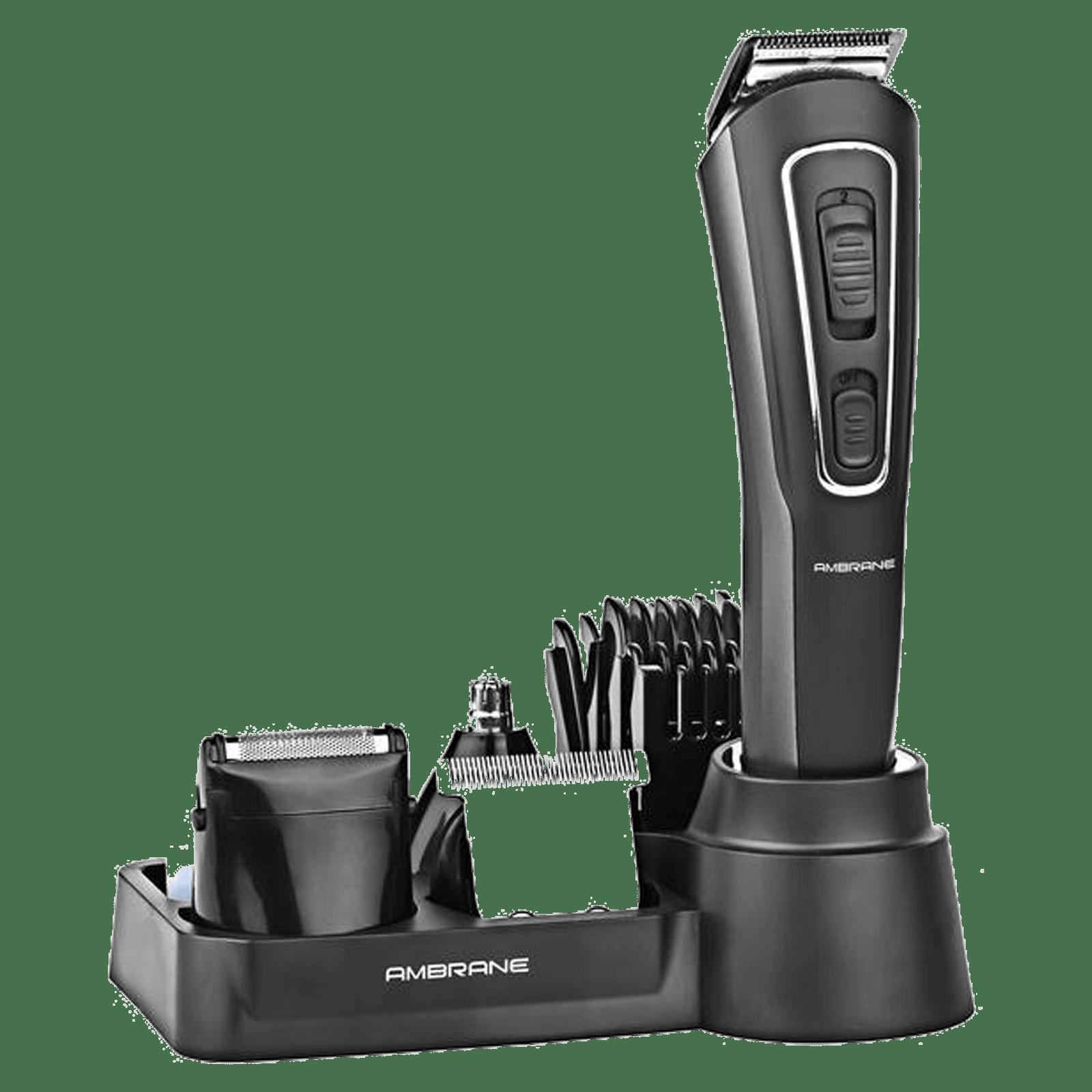 Ambrane Cruiser Lite Stainless Steel Blades 9-in-1 Grooming Kit (LED Indicator Light, Black)