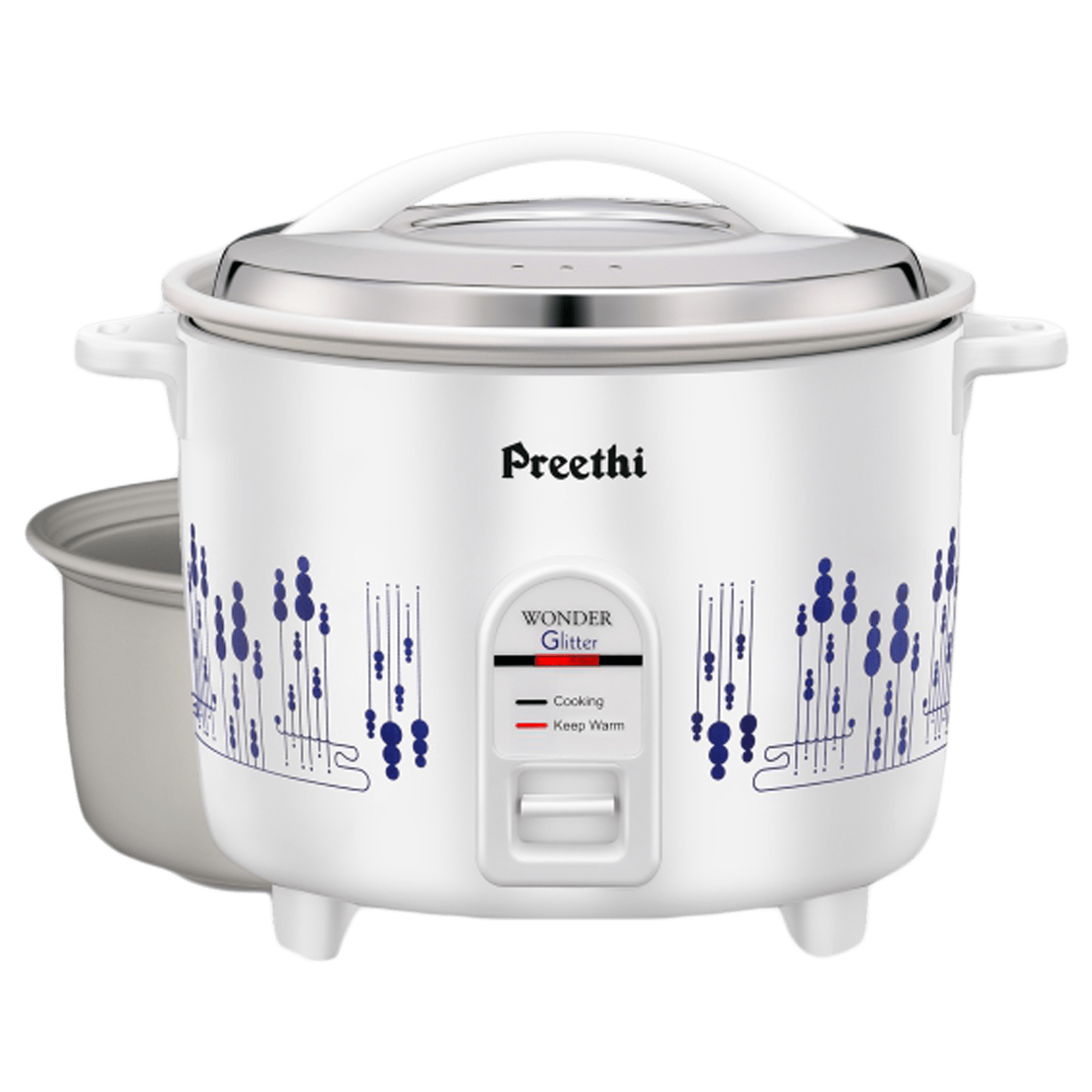 Preethi Glitter 2.2 Litres Electric Rice Cooker (Anodized Aluminium Pan, RC326 DP, White)