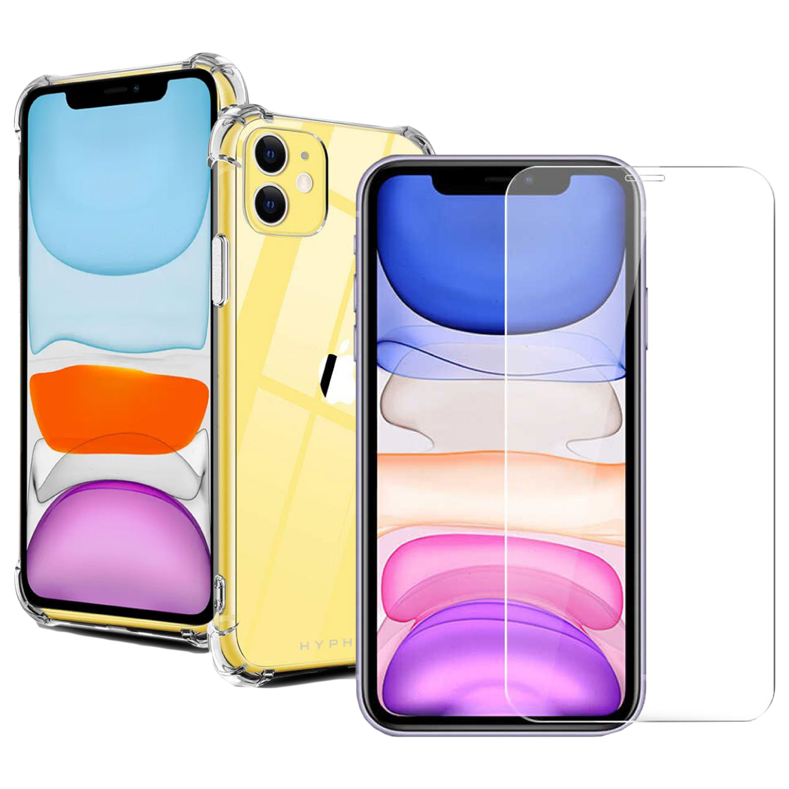 Hyphen Back Case and Screen Protector Bundle (Wireless Charging Support, HPC-DTGXI1364, Clear)