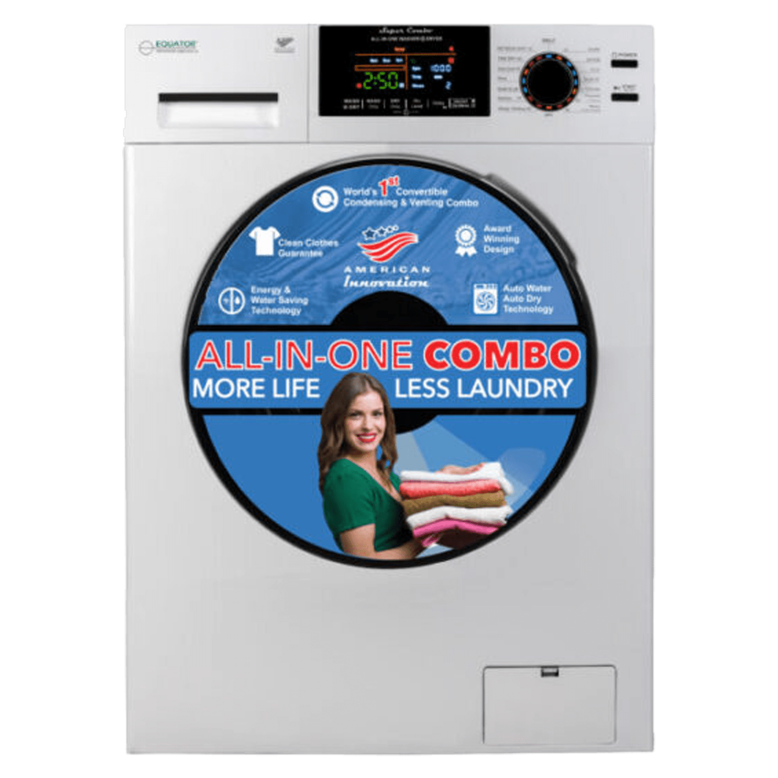 Equator 9 kg/6 kg Fully Automatic Front Load Washer Dryer Combo (In-Built Heater, EZ 5000 CV, White)