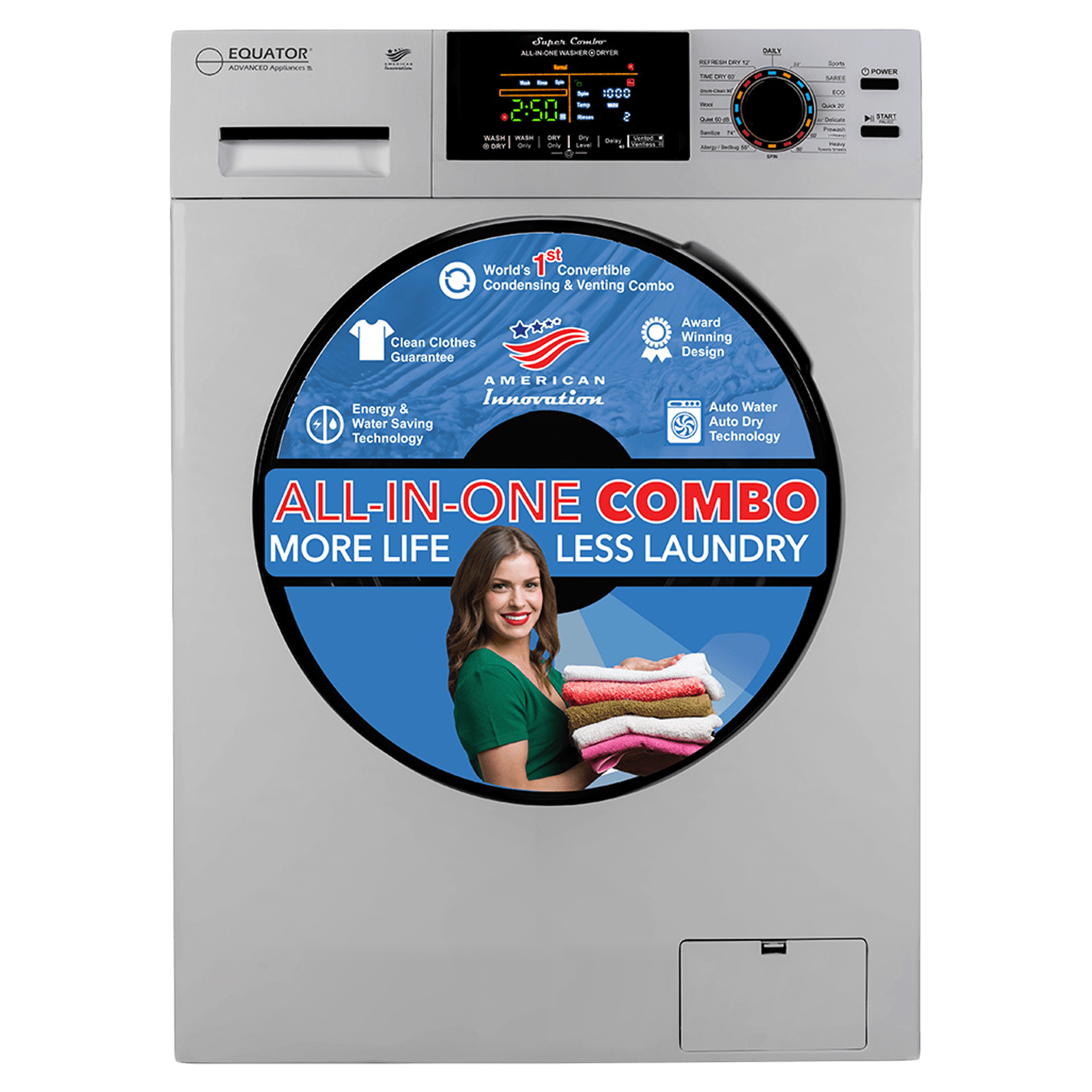 Equator 9 kg/6 kg Fully Automatic Front Load Washer Dryer Combo (In-Built Heater, EZ 5000 CV, Silver)