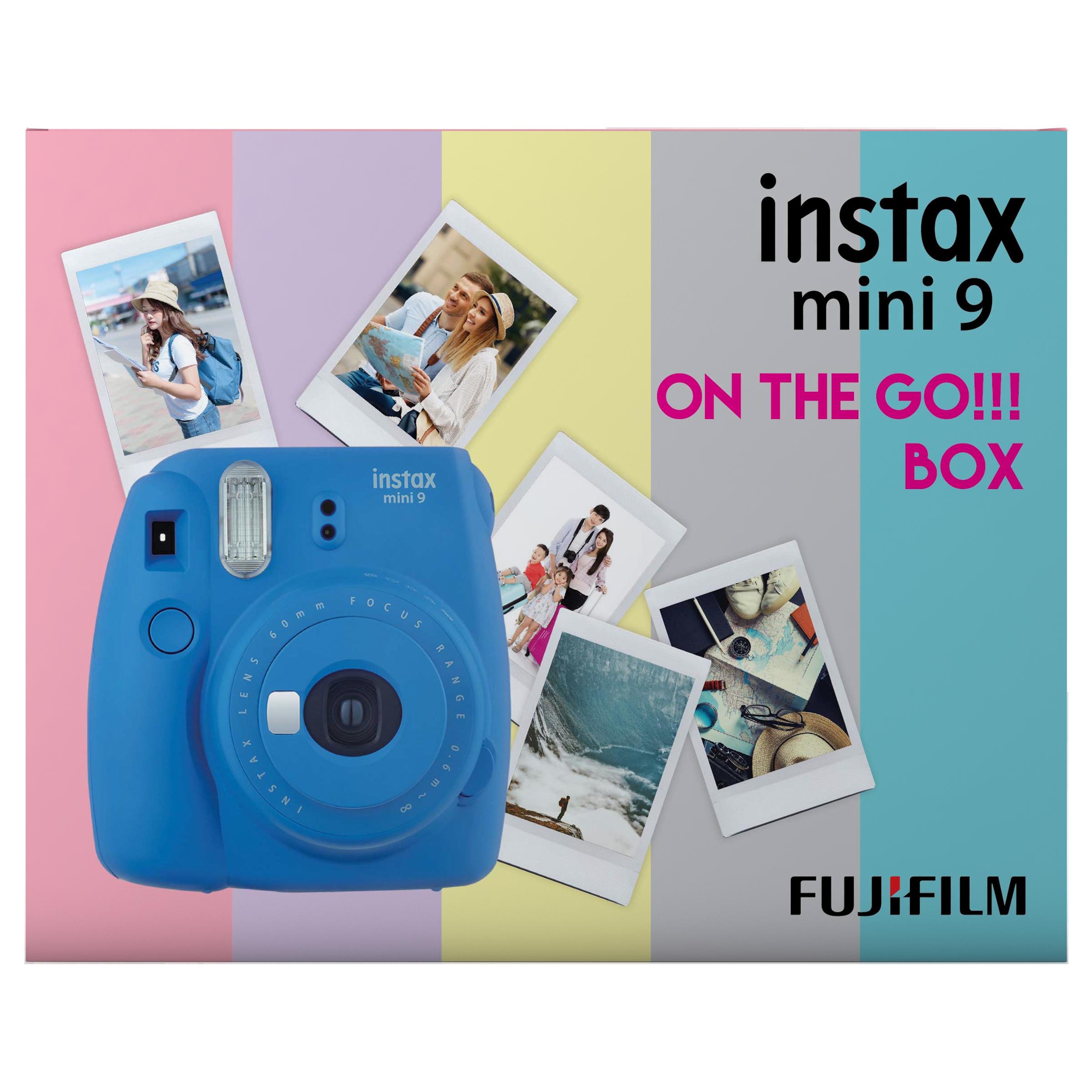 Fujifilm Instax Mini 9 On-The-Go Instant Camera Kit (Automatic Film Feeding Out, Cobalt Blue)