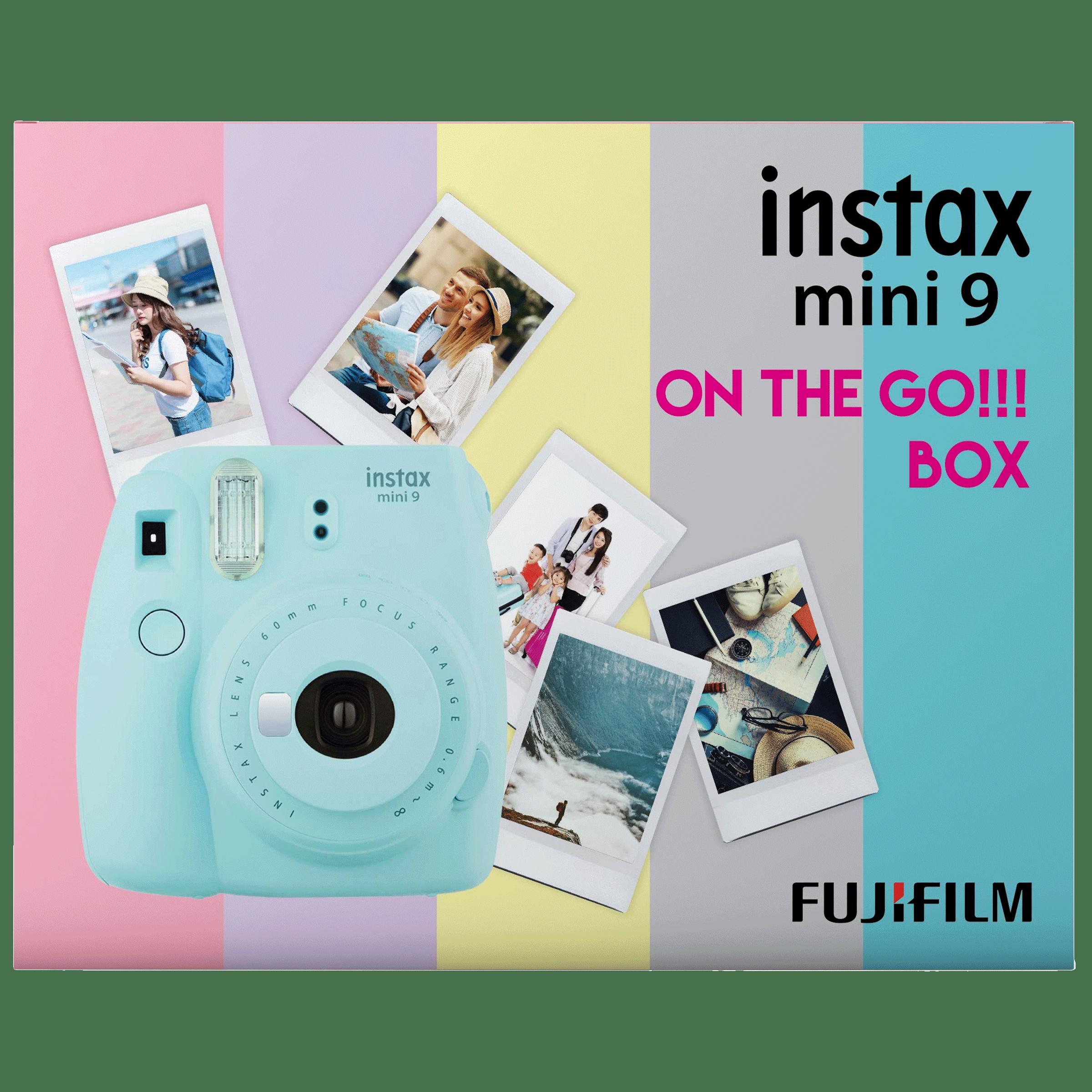 Fujifilm Instax Mini 9 On-The-Go Instant Camera Kit (Automatic Film Feeding Out, Ice Blue)