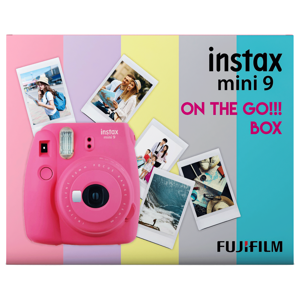 Fujifilm Instax Mini 9 On-The-Go Instant Camera Kit (Automatic Film Feeding Out, Flamingo Pink)