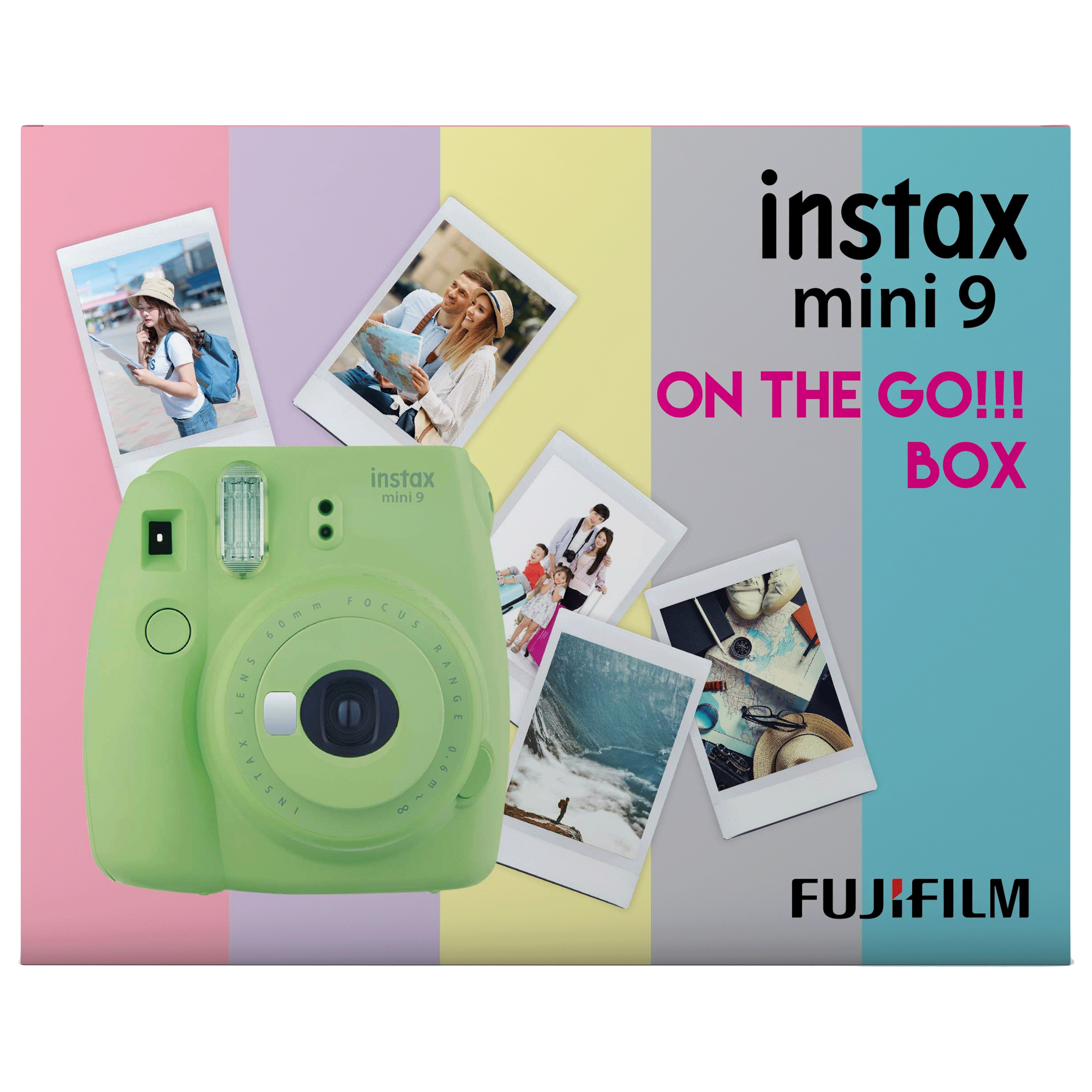 Fujifilm Instax Mini 9 On-The-Go Instant Camera Kit (Automatic Film Feeding Out, Lime Green)