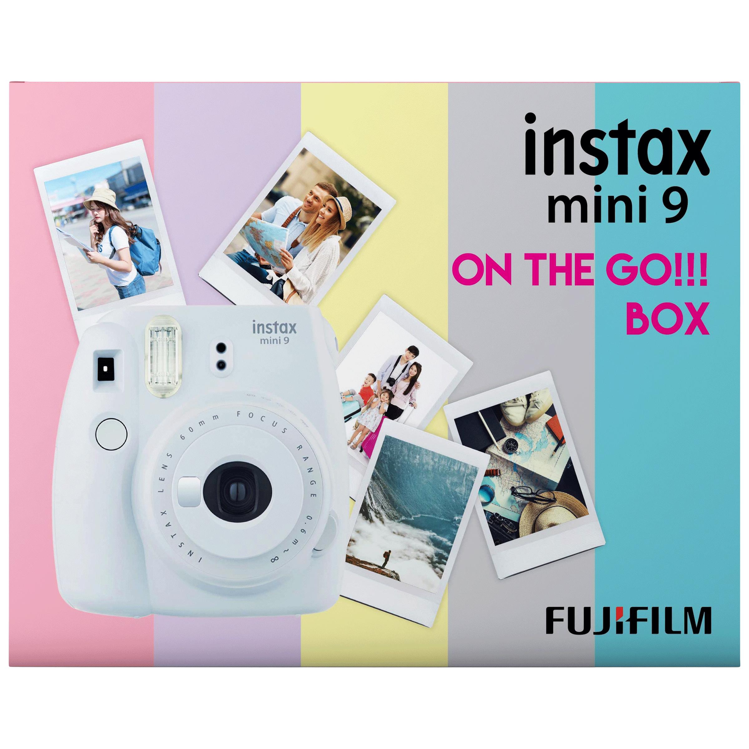 Fujifilm Instax Mini 9 On-The-Go Instant Camera Kit (Automatic Film Feeding Out, Smoky White)