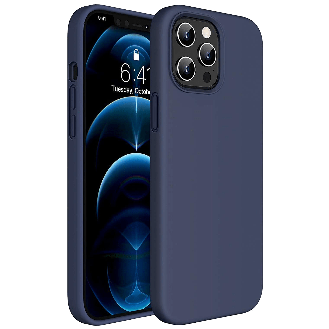 Vaku Luxos Mag-Pro Liquid Silicon, Microfiber Back Case For iPhone 12 and iPhone 12 Pro (Precise Cutouts, VAKU-IPH12P-MSWSIL, Blue)
