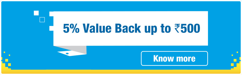 5% Value Back up to Rs. 500