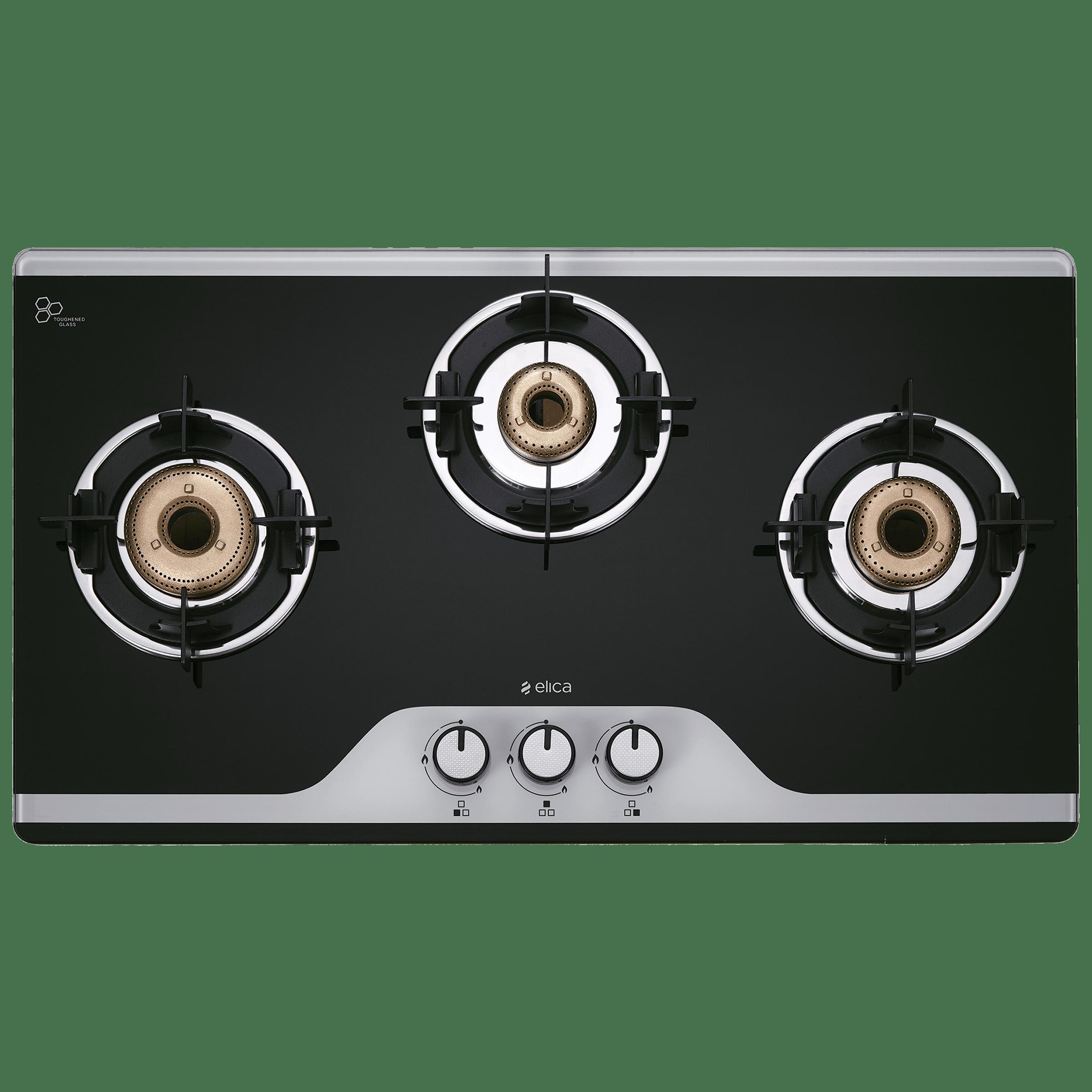 Elica TKN Crown DT AI 3 Burner Dual Tone Toughened Glass Gas Stove (Bakelite Knobs, 773 CT Vetro, Black)