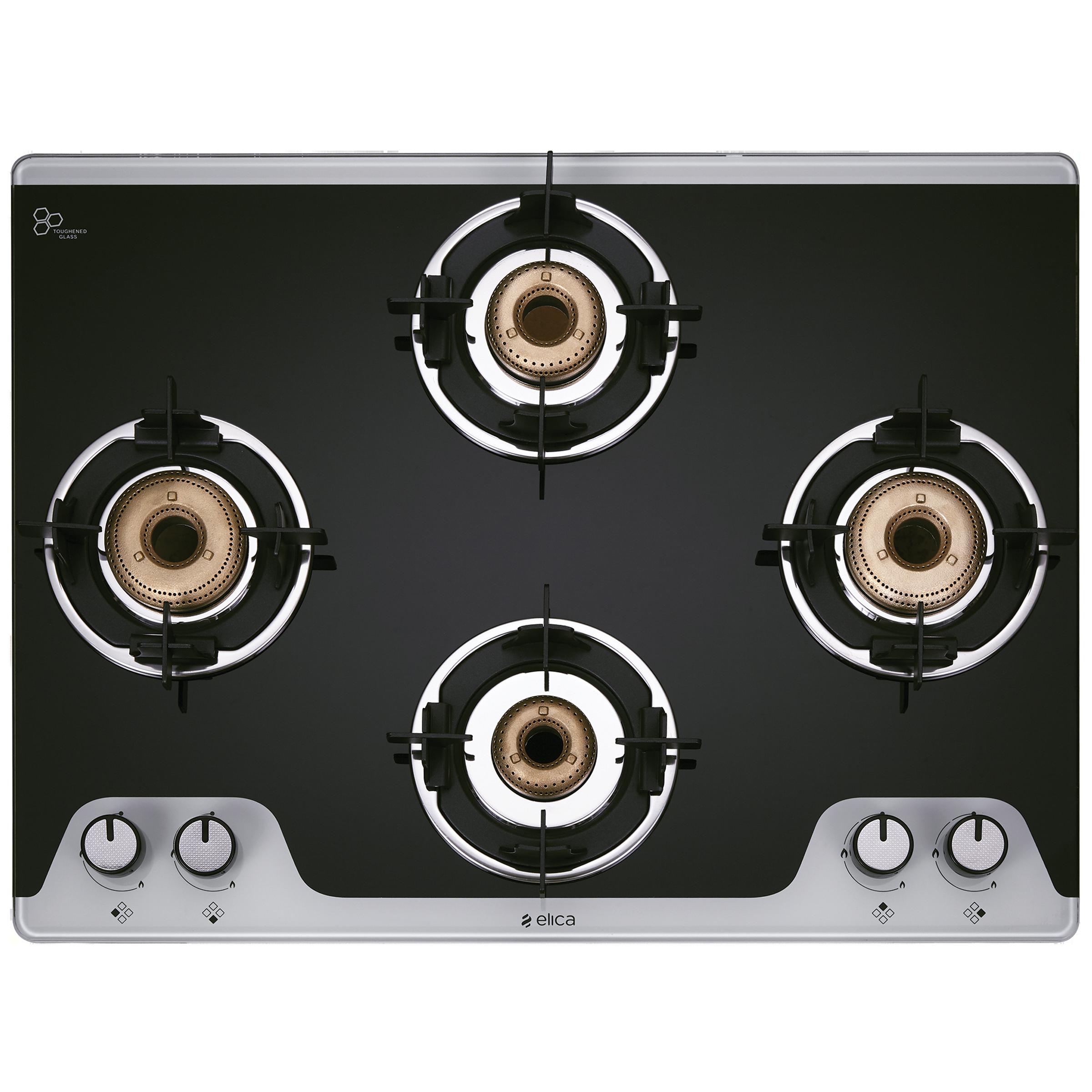 Elica TKN Crown DT AI 4 Burner Dual Tone Toughened Glass Gas Stove (Bakelite Knobs, 694 CT Vetro 2J, Black)