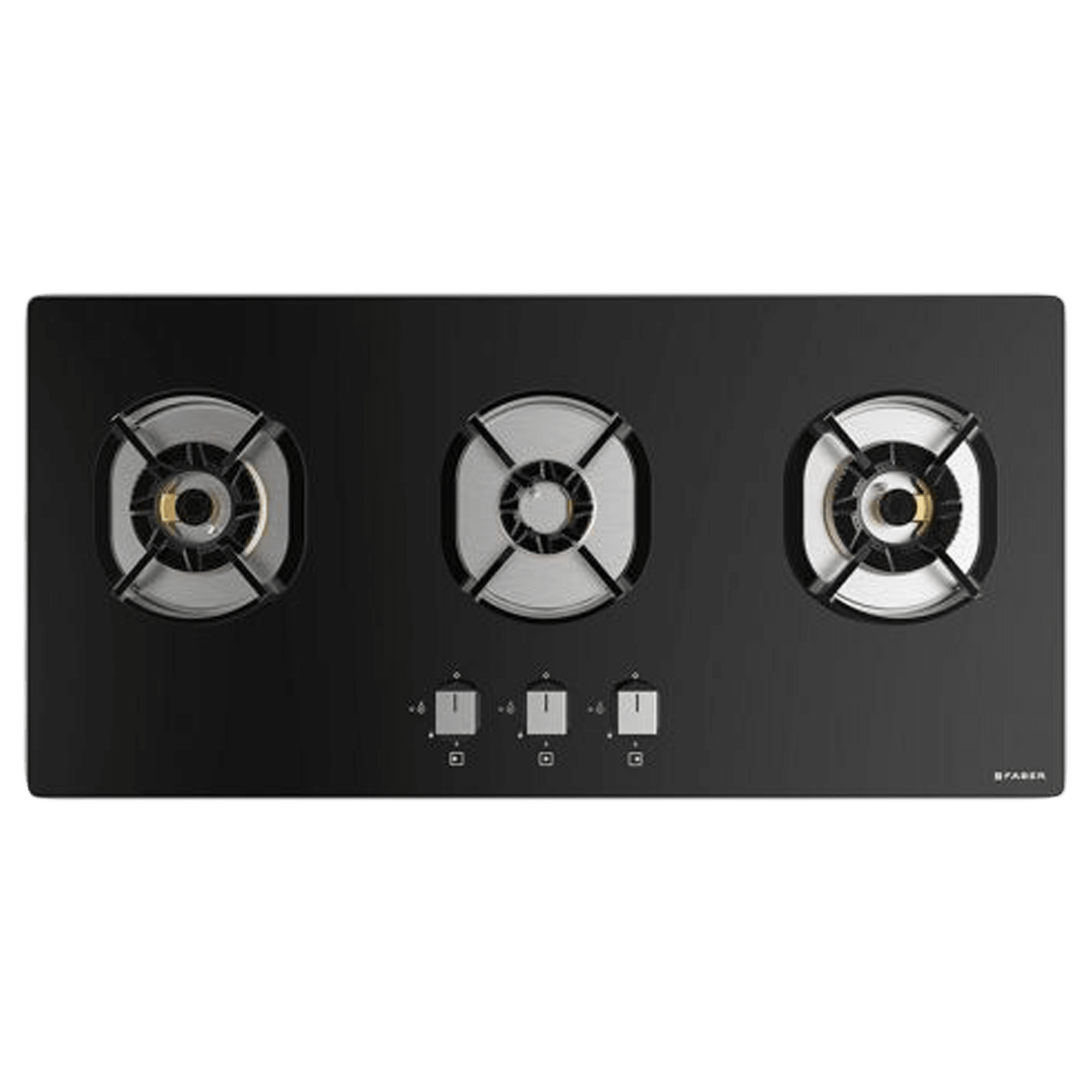 Faber Nexus IND HT803 CRS BR CI AI 3 Burner Toughened Glass Built-in Gas Hob (Auto Ignition, 106.0606.343, Black)