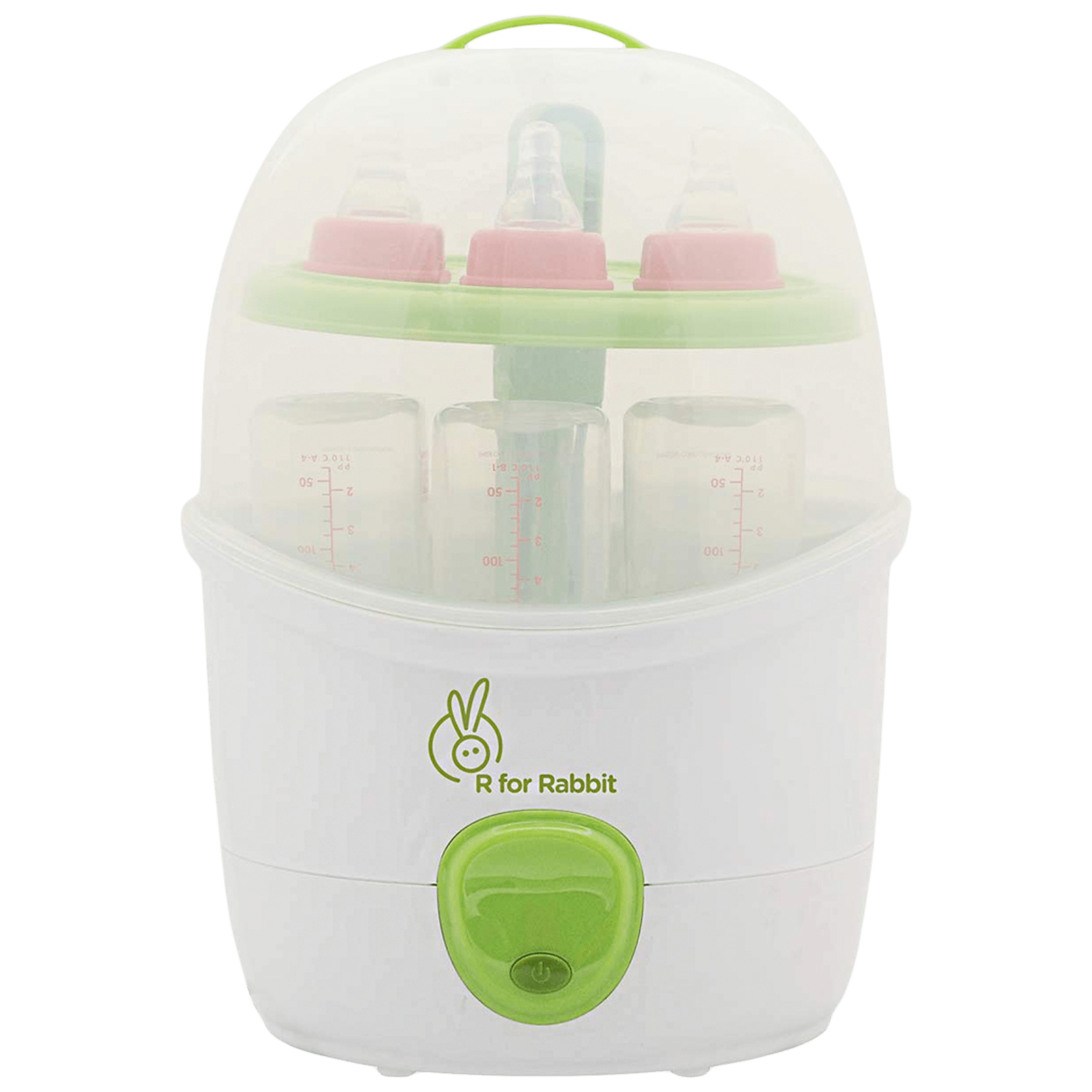 R for Rabbit Peter Fighter Plus Sterilizer (6 Bottles, Auto Shutdown, SZPFGW2, Green/White)