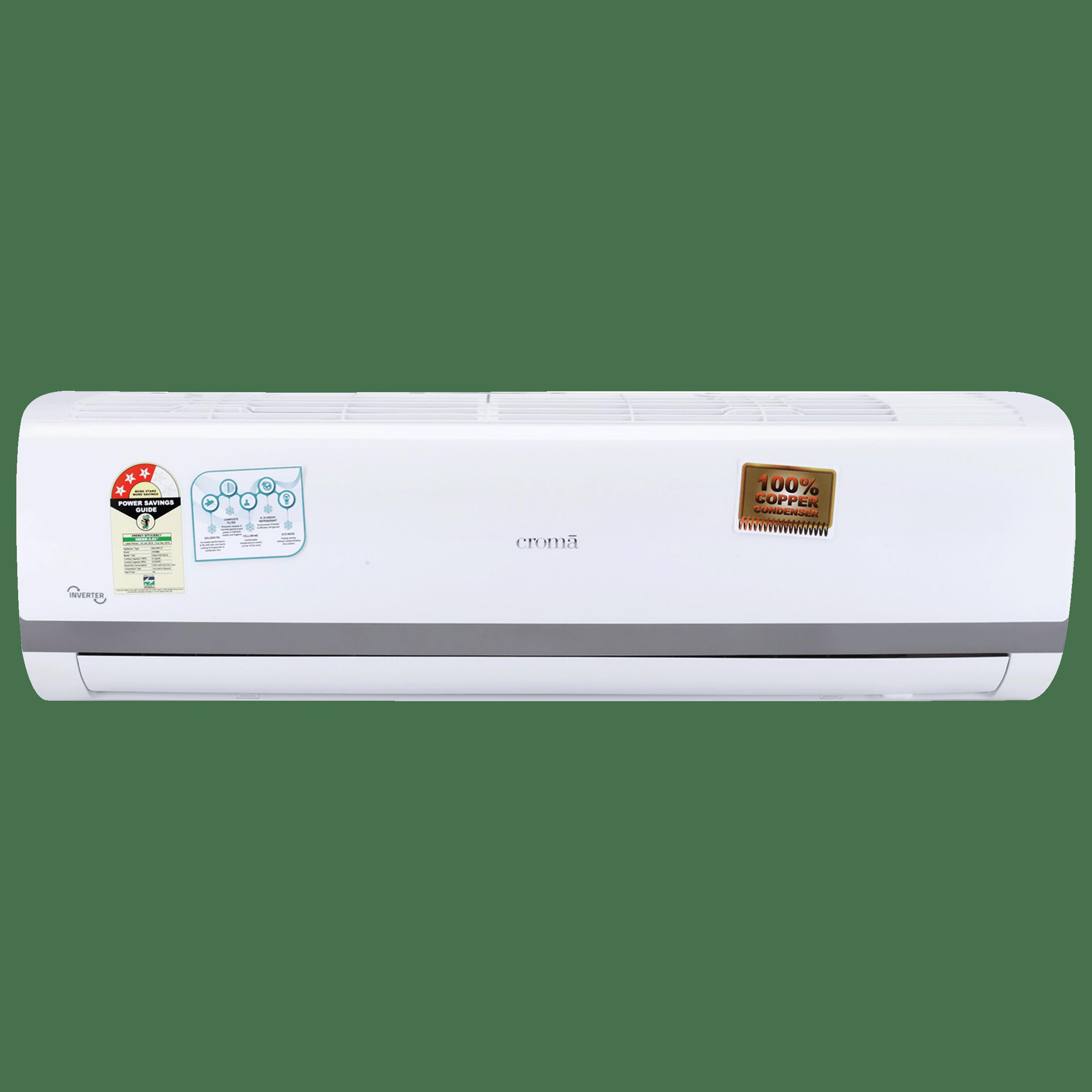 Croma 1.5 Ton 3 Star Inverter Split AC (CRAC7557, Copper Condenser, White)