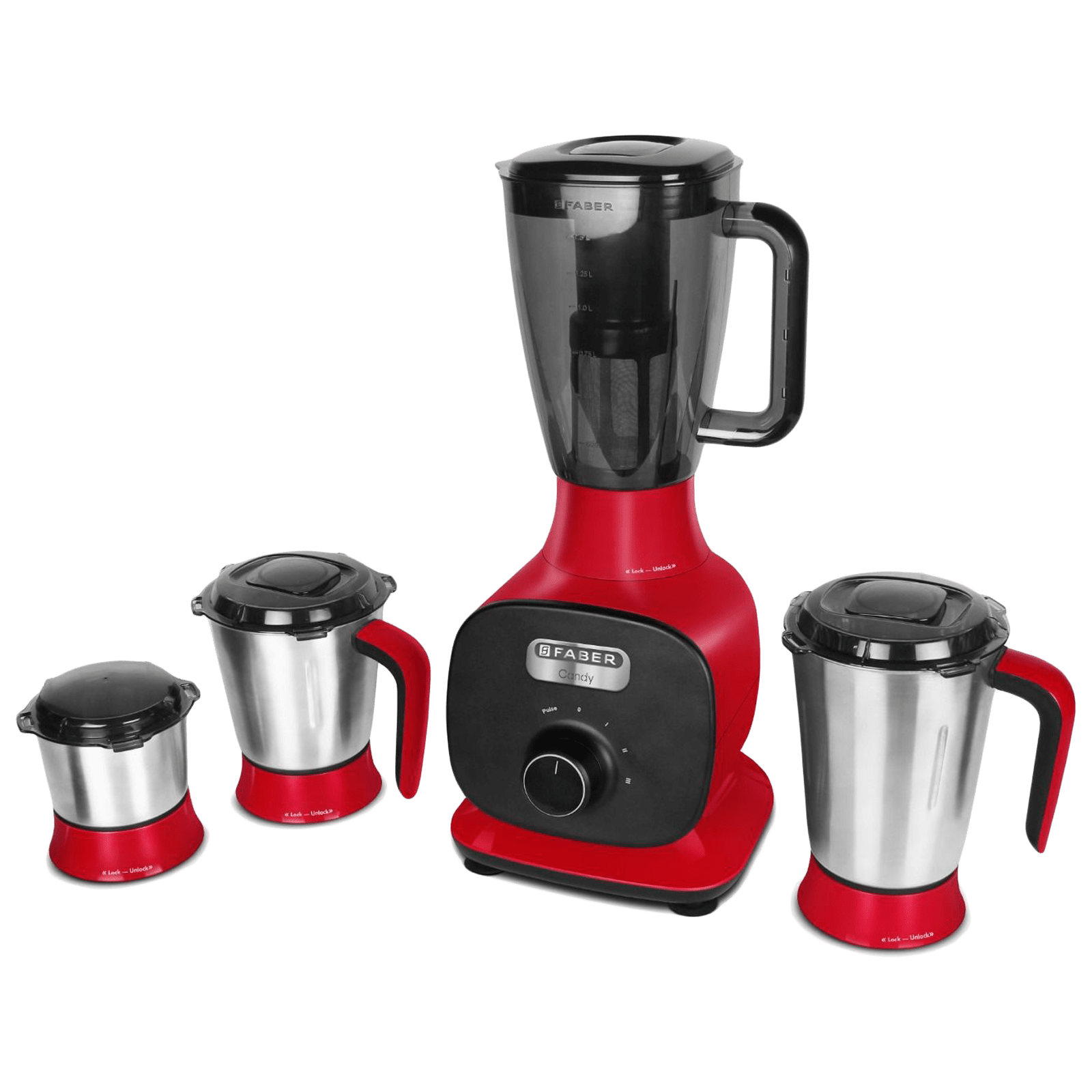 Faber Candy 800 Watts 4 Jars Mixer Grinder (Copper Motor, 131.0628.641, Mystic Red)