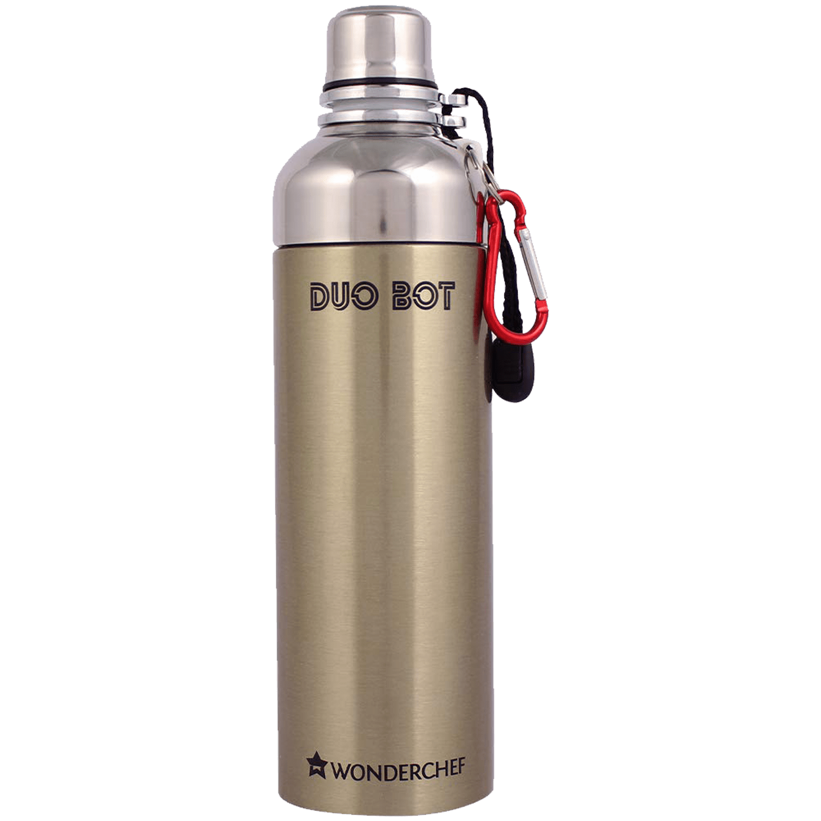 Wonderchef Duo-Bot 0.75 Litres Stainless Steel Water Bottle (Spill and Leak Proof, 63153154, Gold)