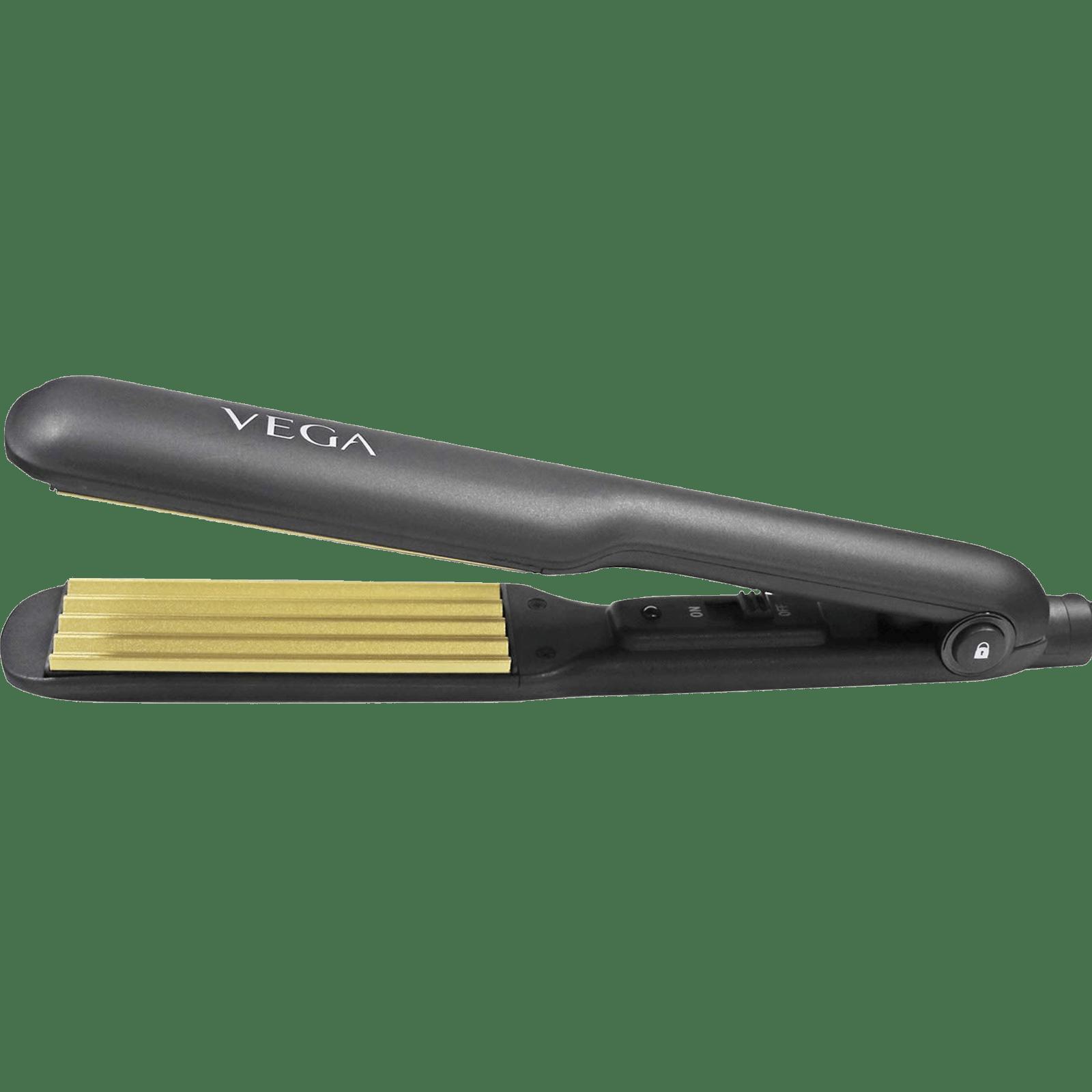 Vega Hair Crimper (Wide Ceramic Coated Crimper Plates, VHCR-01, Black)