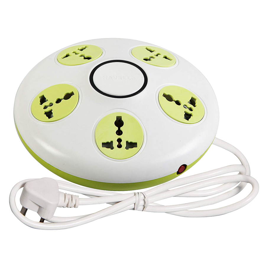 Havells Rigel 10 Amps 5 Sockets Spike Guard With Individual Switch (1.5 Meters, Overload Protection, AHLXOXW061, Green)_1
