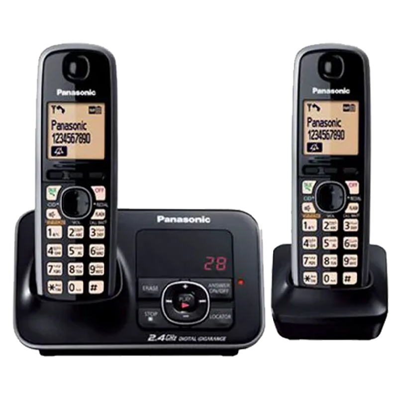 Panasonic Duo Cordless Phone (KX-TG3722BX, Black)_1