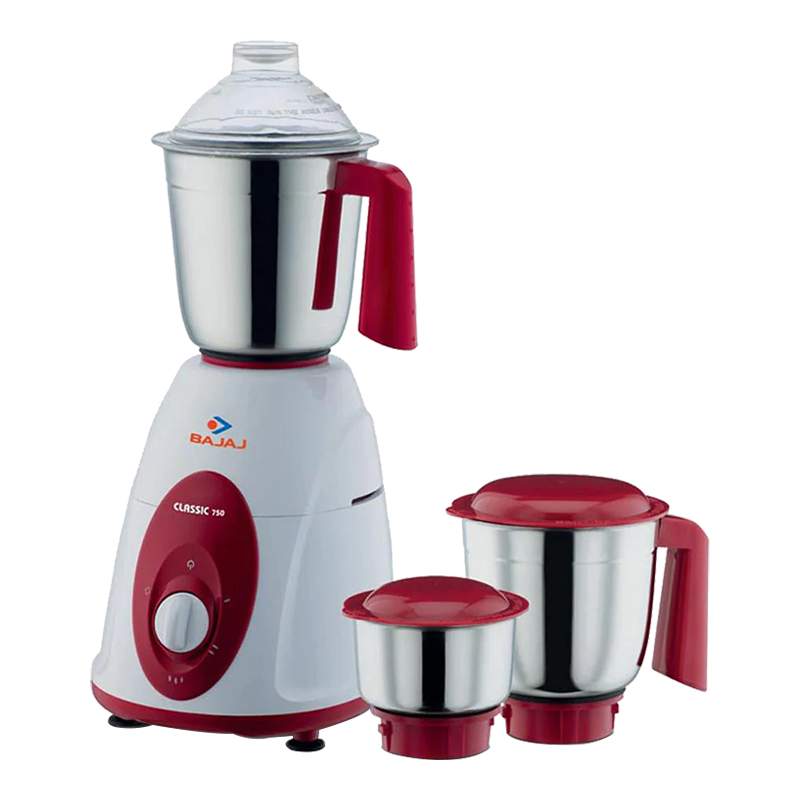 Bajaj 750 Watt Mixer Grinder (Classic, White/Red)_1